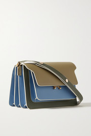 Marni Trunk small color-block textured-leather shoulder bag