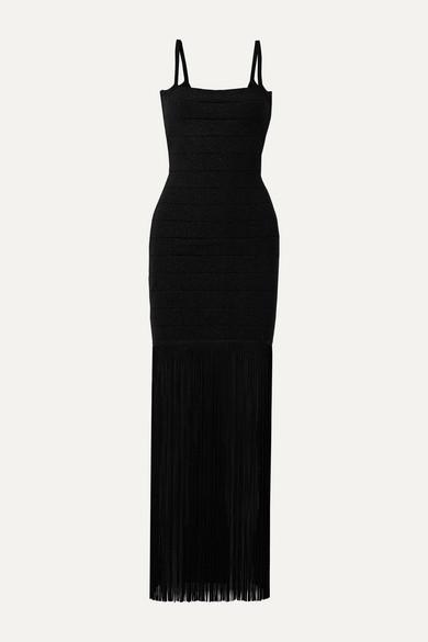 Herve Leger Shimmer Sleeveless Square-neck Fringe Dress In Black