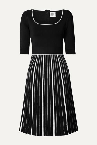 Herve Leger Striped-skirt Half-sleeve Dress In Black