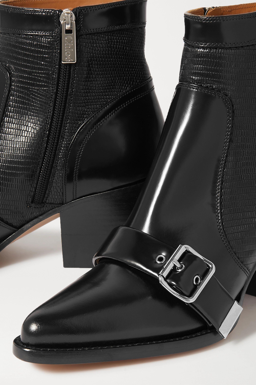Chloé Rylee Ankle Boots aus Glanzleder und Leder mit Eidechseneffekt
