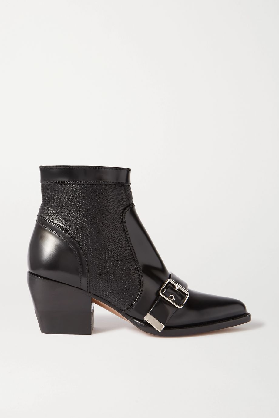 Chloé Rylee glossed and lizard-effect leather ankle boots