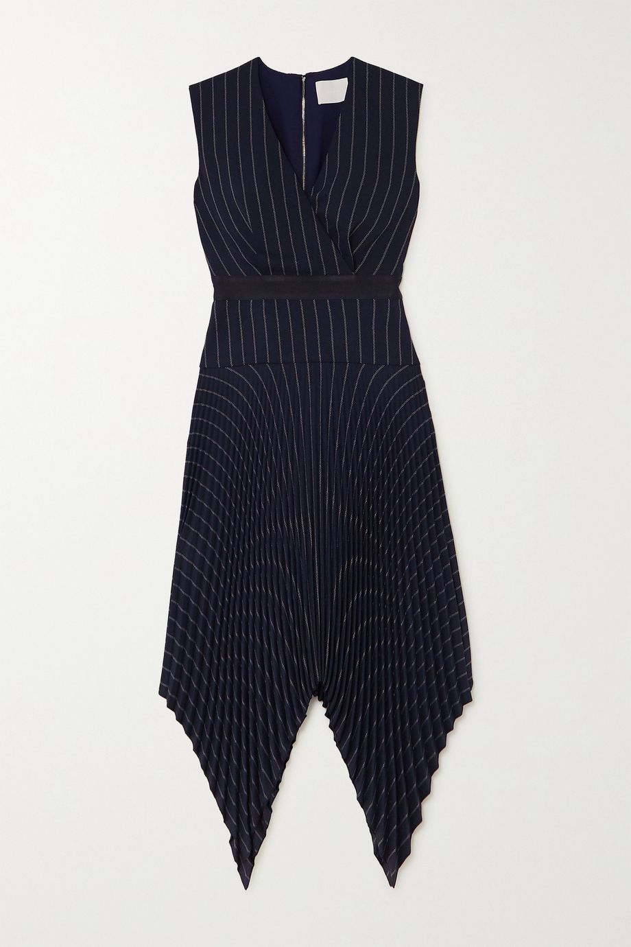 Dion Lee Pleated pinstriped woven midi dress