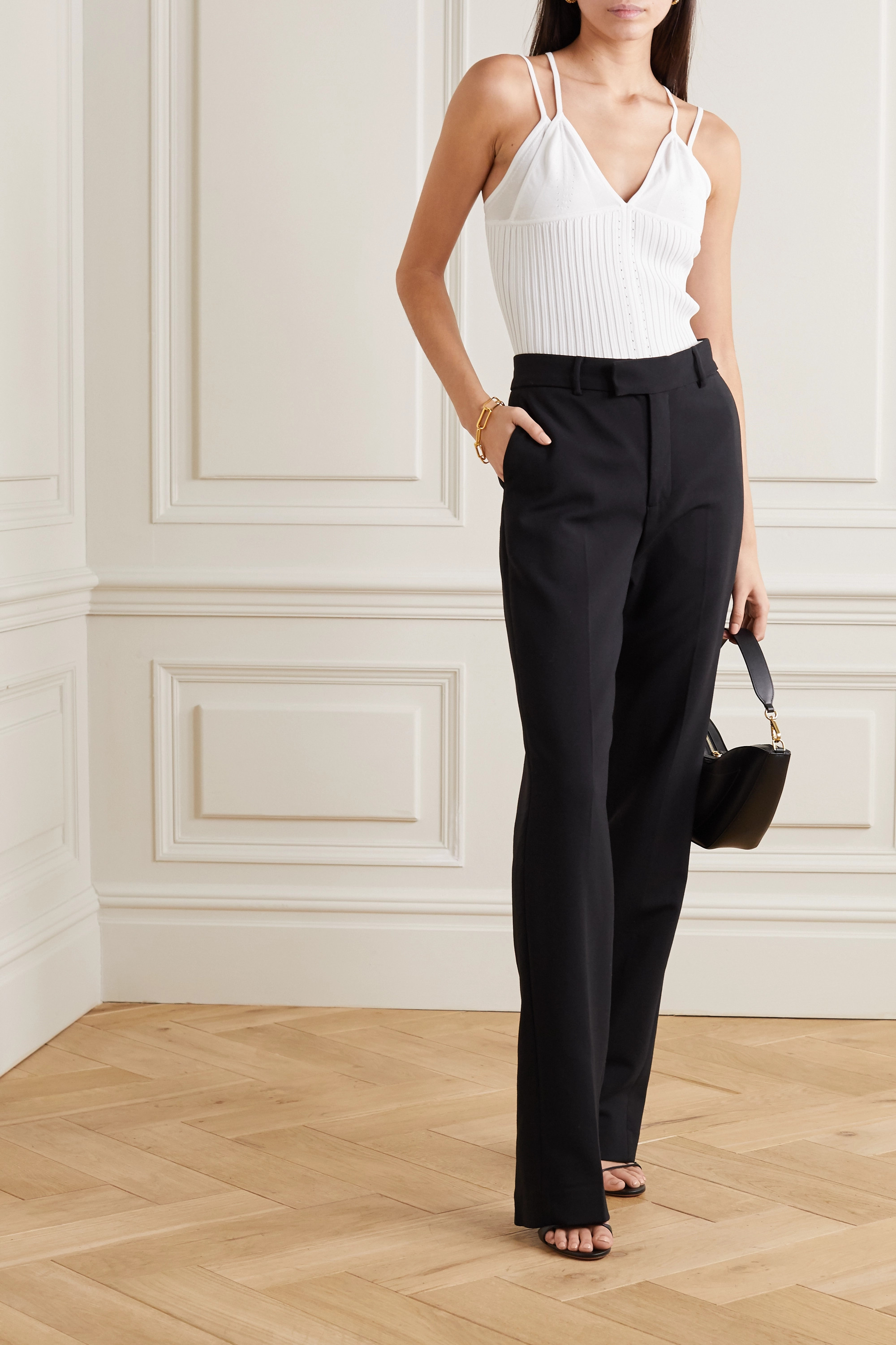 Dion Lee Layered ribbed-knit camisole
