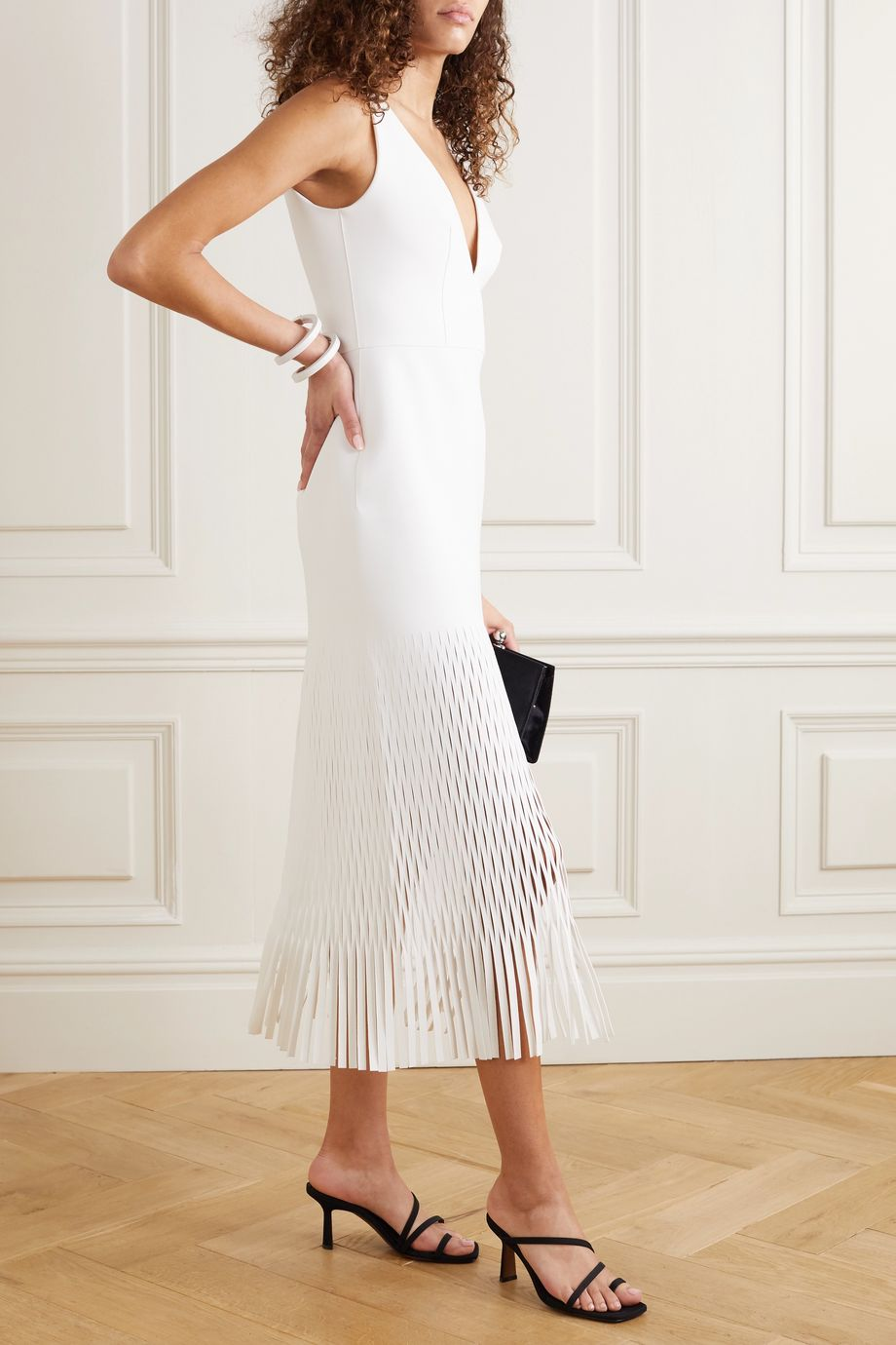 Dion Lee Perforated fringed stretch-ponte midi dress