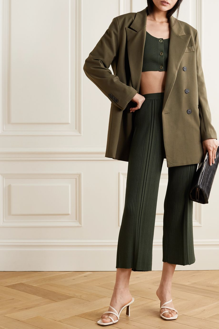 Dion Lee Pinnacle cropped ribbed-knit wide-leg pants