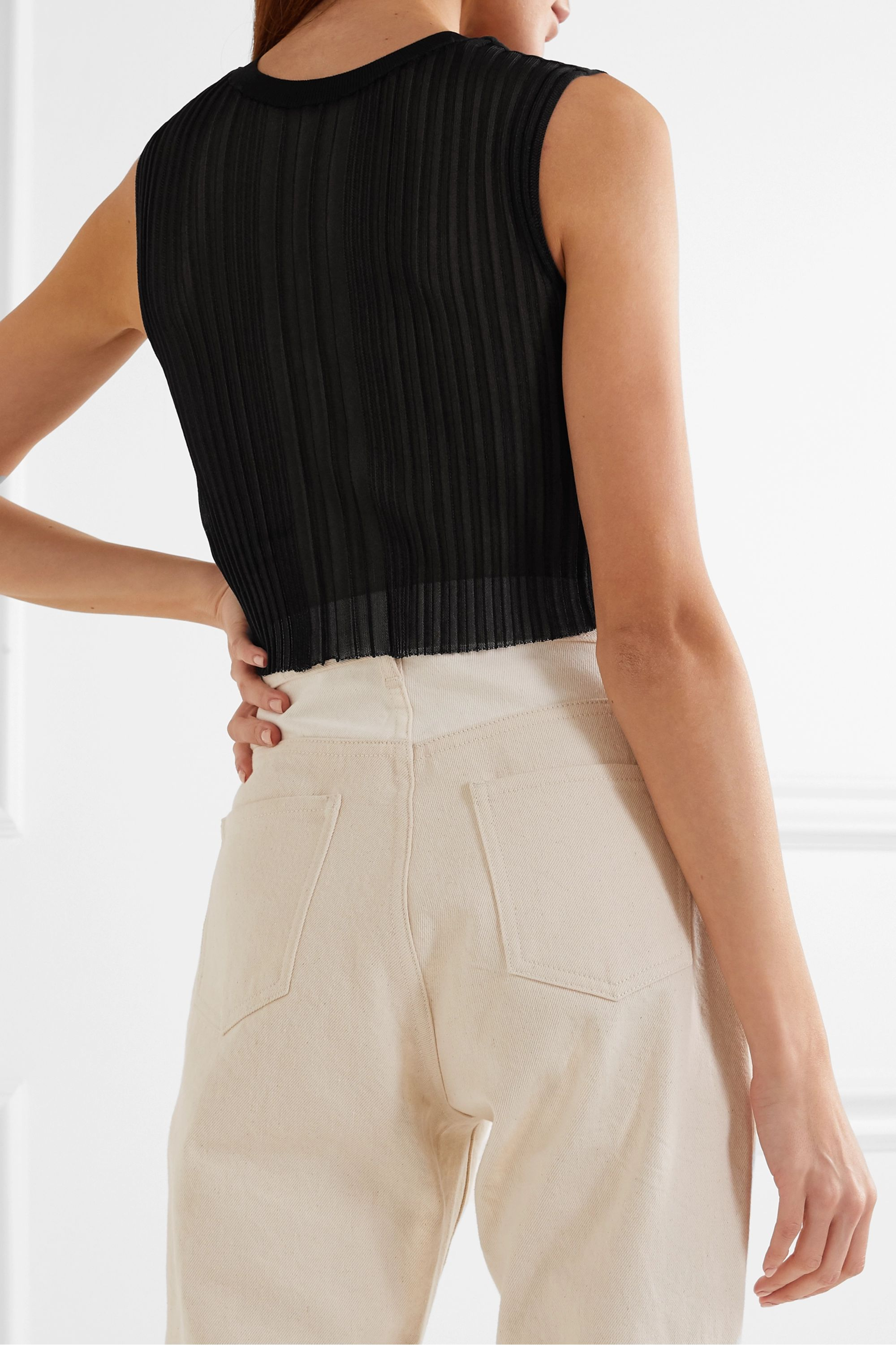 Dion Lee Opacity cropped ribbed-knit tank