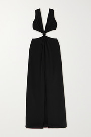 Knotted cutout mulberry silk gown