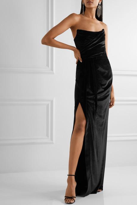 Strapless velvet gown
