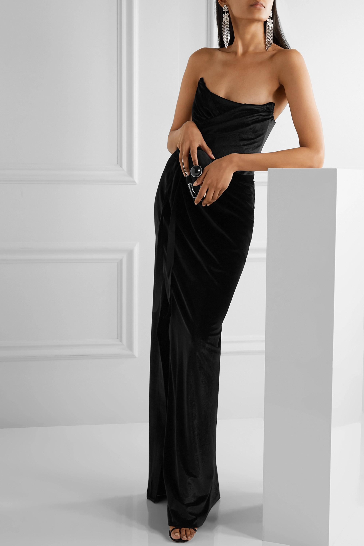 Black Strapless velvet gown | Marchesa