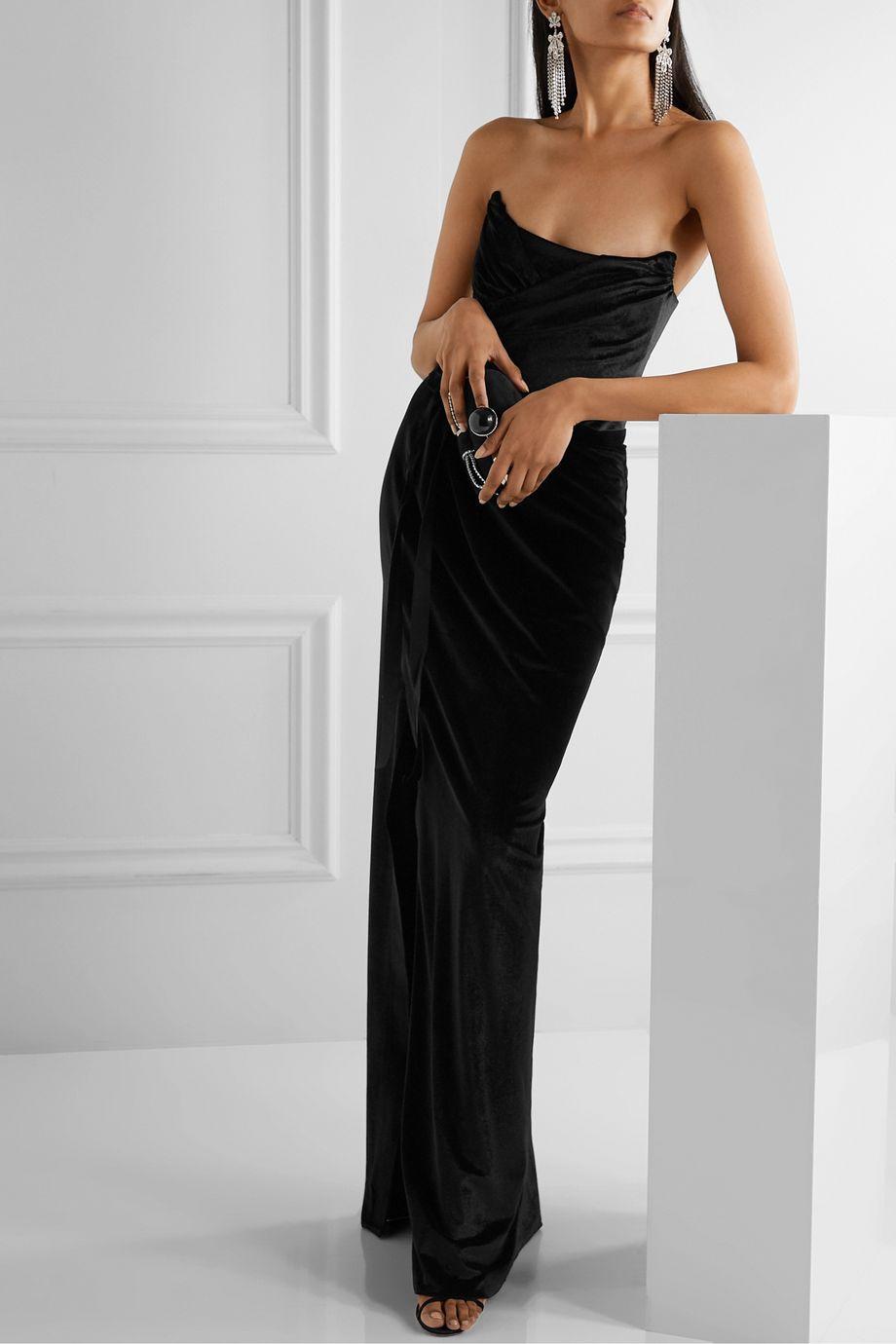 Marchesa Notte Strapless velvet gown