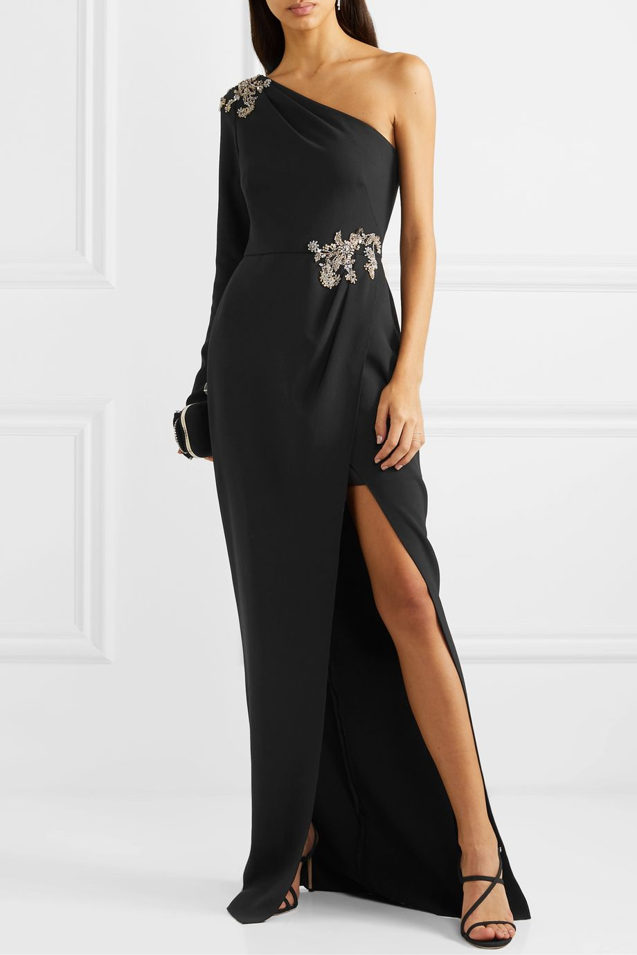 Marchesa Notte One-sleeve embellished stretch-crepe gown