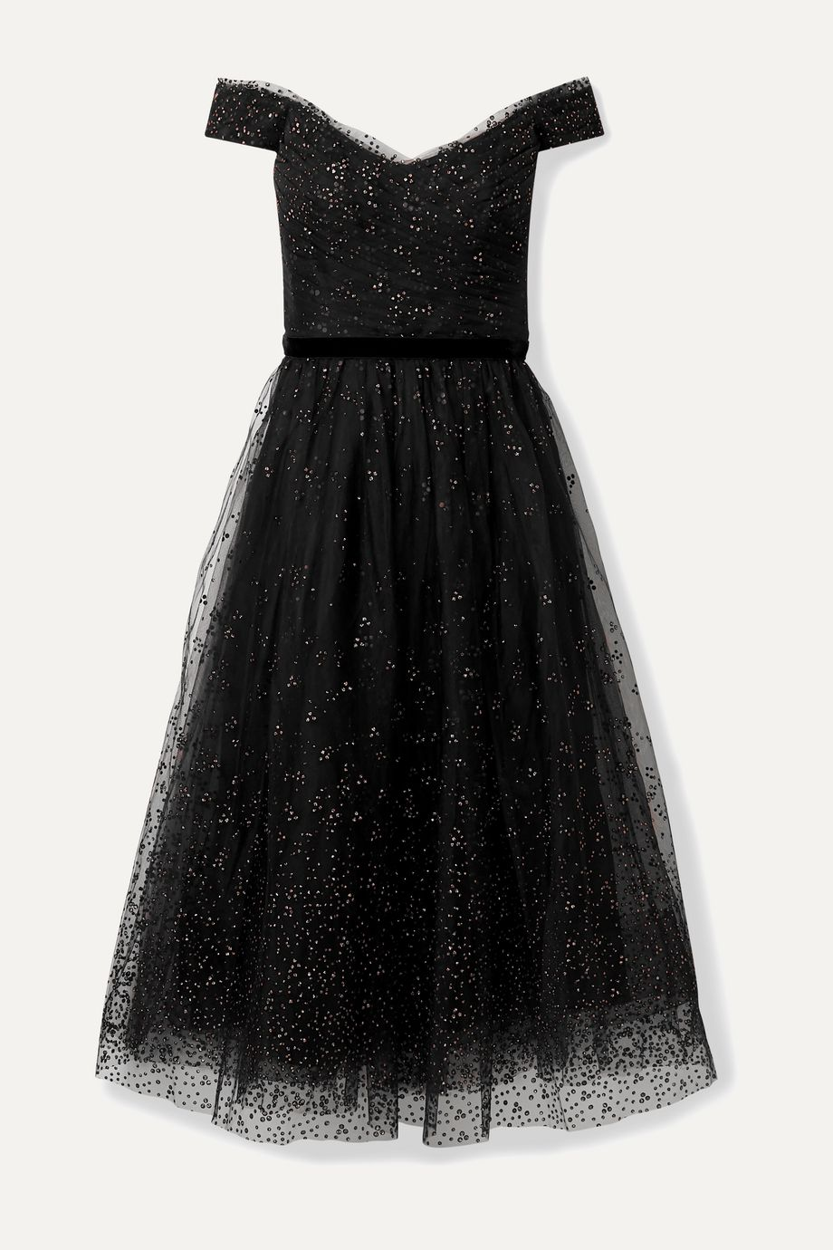 Marchesa Notte Off-the-shoulder glittered tulle gown