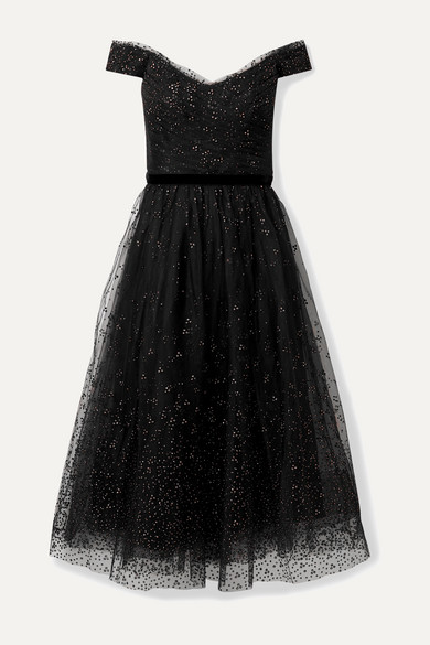 Marchesa Notte Dresses Off-the-shoulder ruched glittered tulle gown