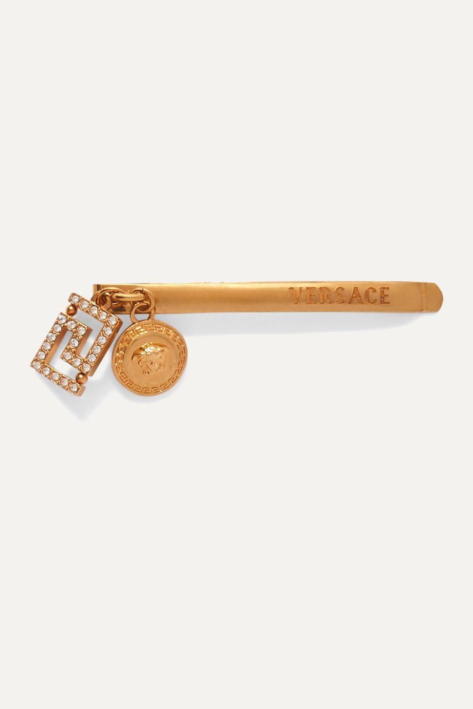 Versace Gold-tone crystal hair slide