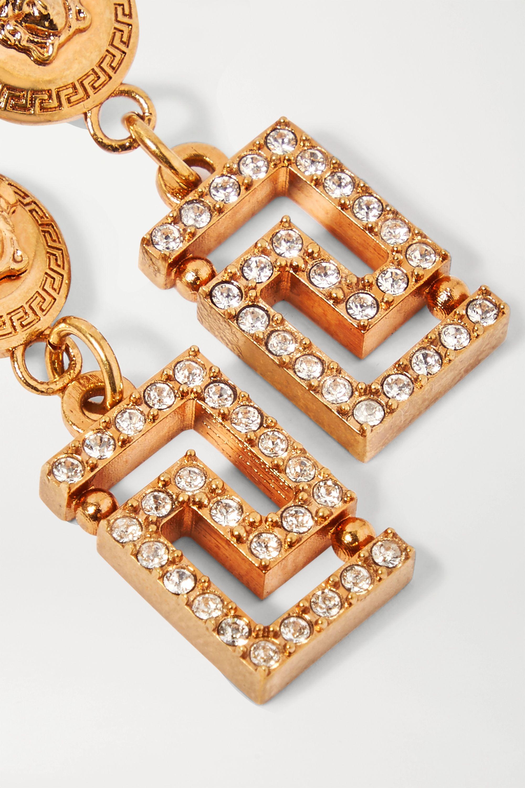 Versace Gold-tone crystal earrings