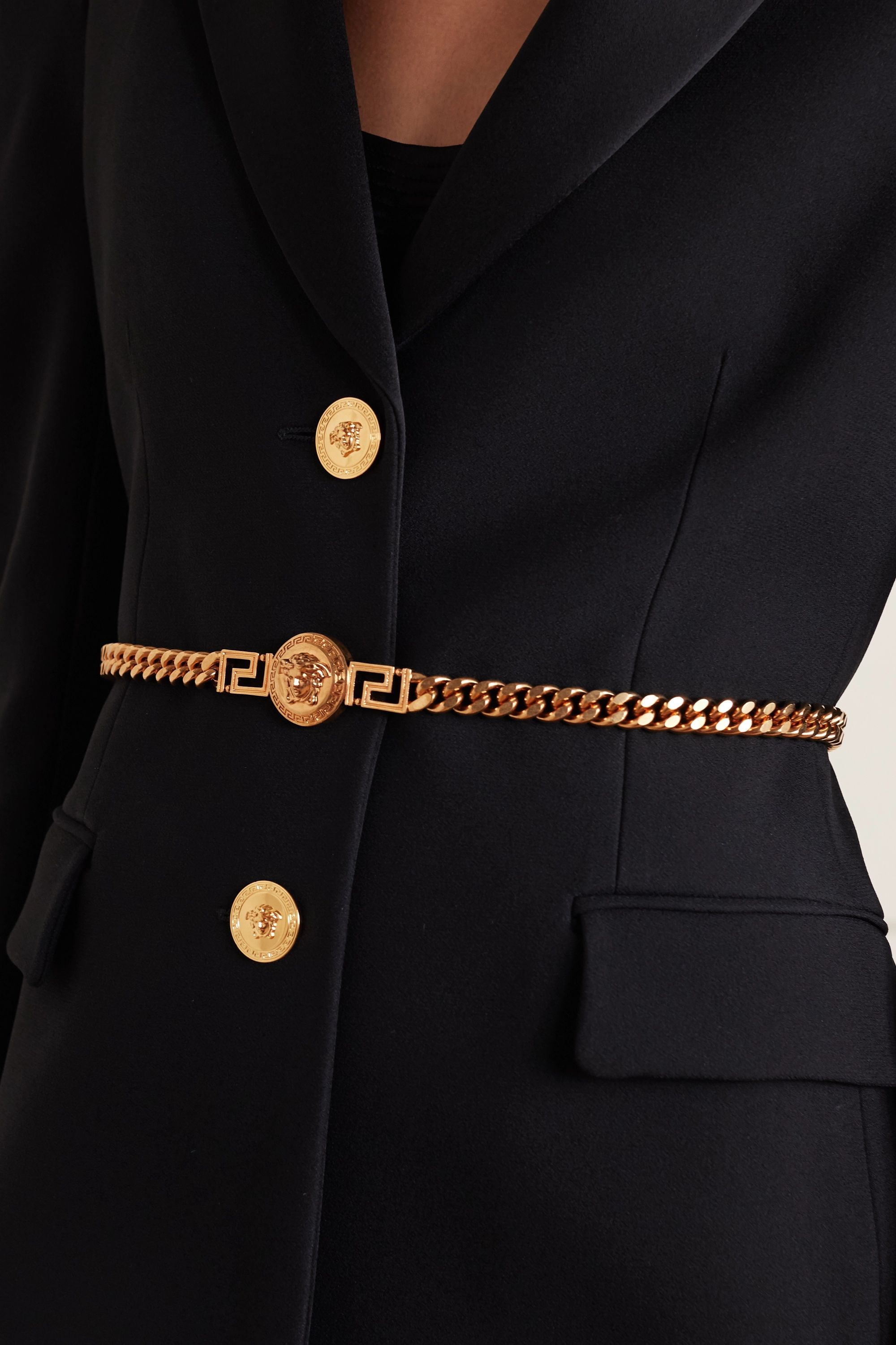 Versace Leather-trimmed gold-tone belt