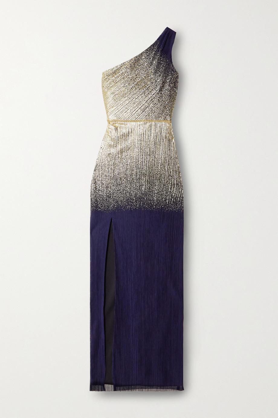 Marchesa Notte One-shoulder metallic printed plissé-tulle gown