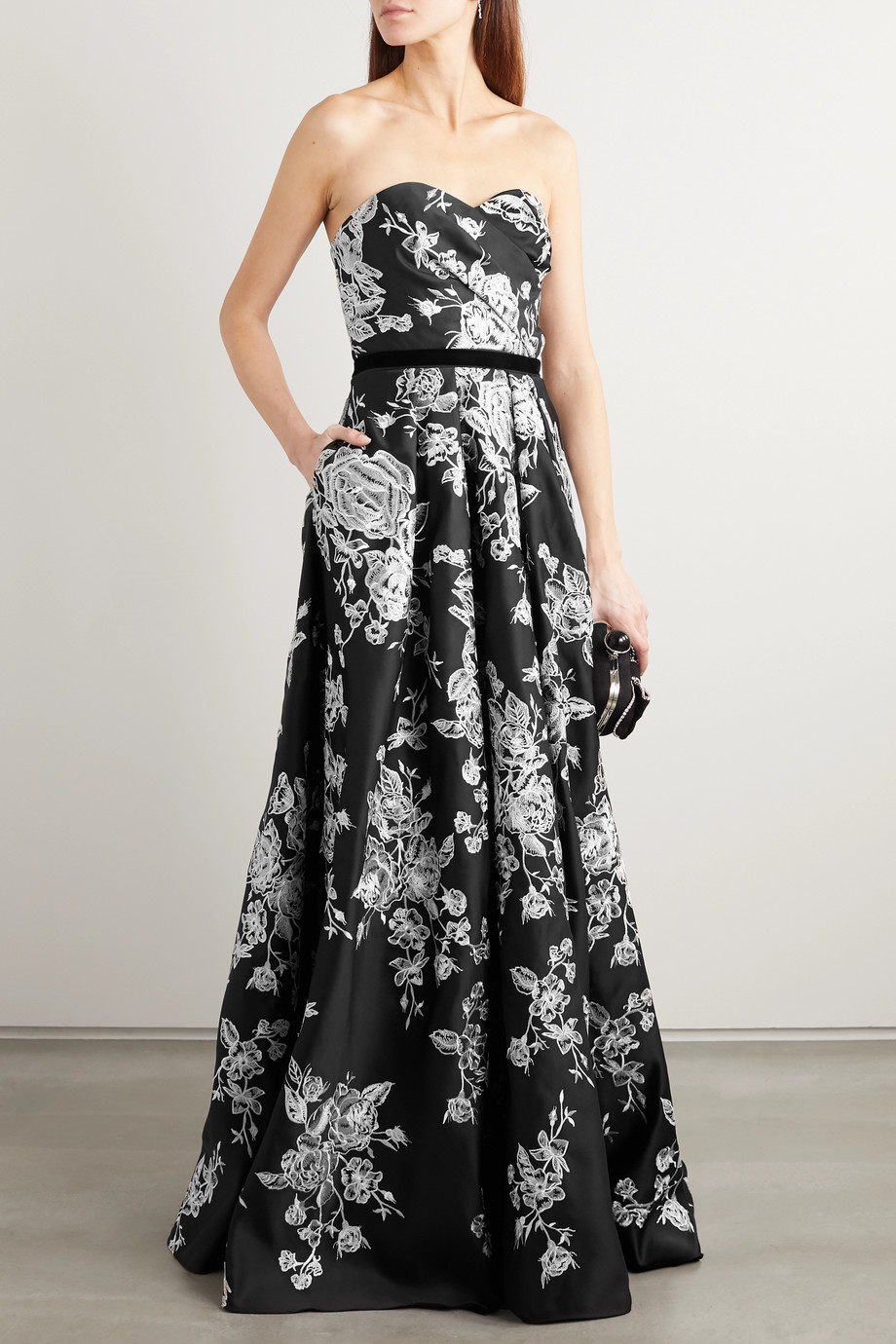 Marchesa Notte Strapless velvet-trimmed embroidered duchesse-satin gown