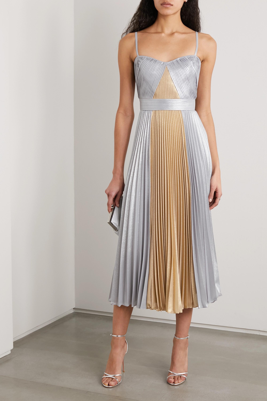 Marchesa Notte Two-tone pleated metallic lamé midi dress
