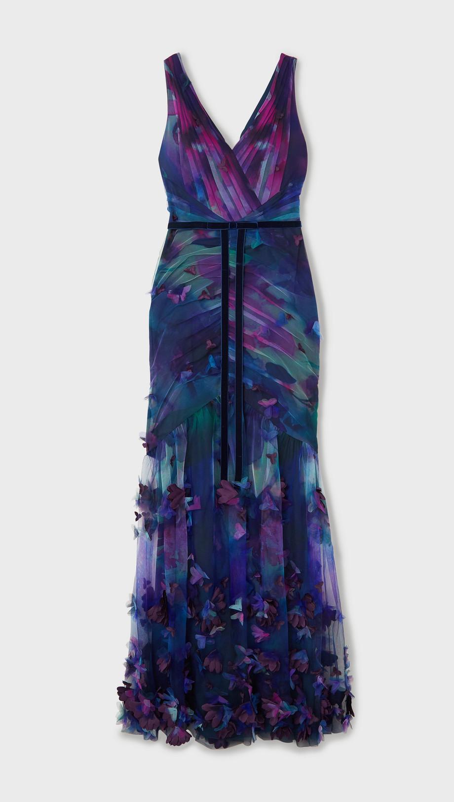 Marchesa Notte Velvet-trimmed appliquéd floral-print tulle gown