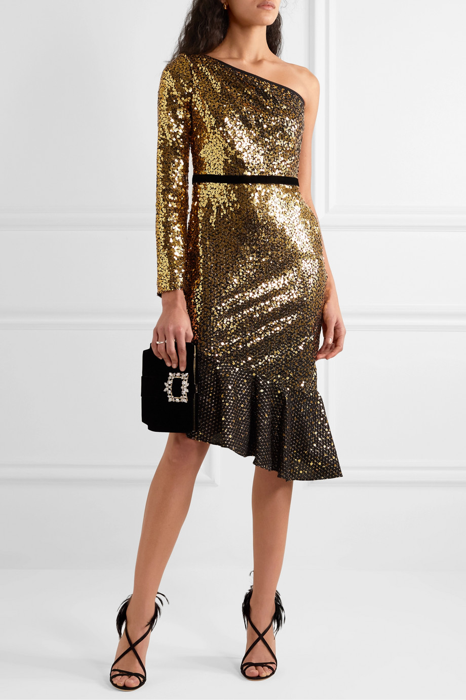 Marchesa Notte One-sleeve velvet-trimmed sequined cady dress