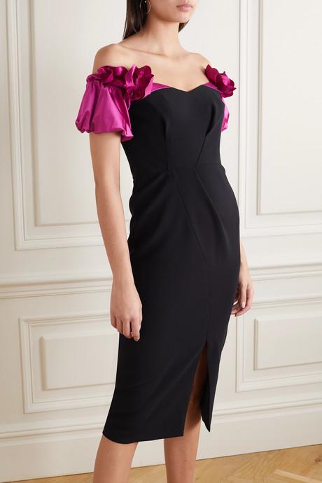 Off-the-shoulder satin-trimmed crepe dress