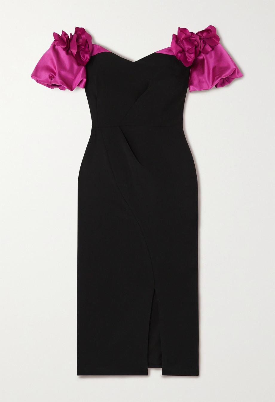 Marchesa Notte Off-the-shoulder satin-trimmed crepe dress