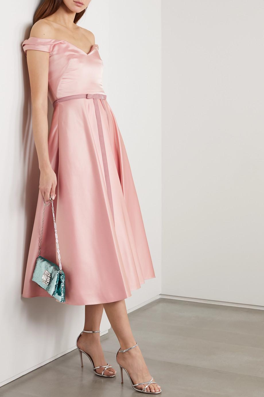 Marchesa Notte Off-the-shoulder velvet-trimmed duchesse-satin midi dress