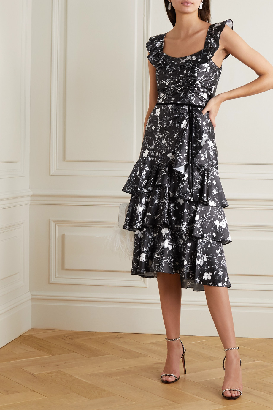 Marchesa Notte Velvet-trimmed tiered floral-print charmeuse midi dress