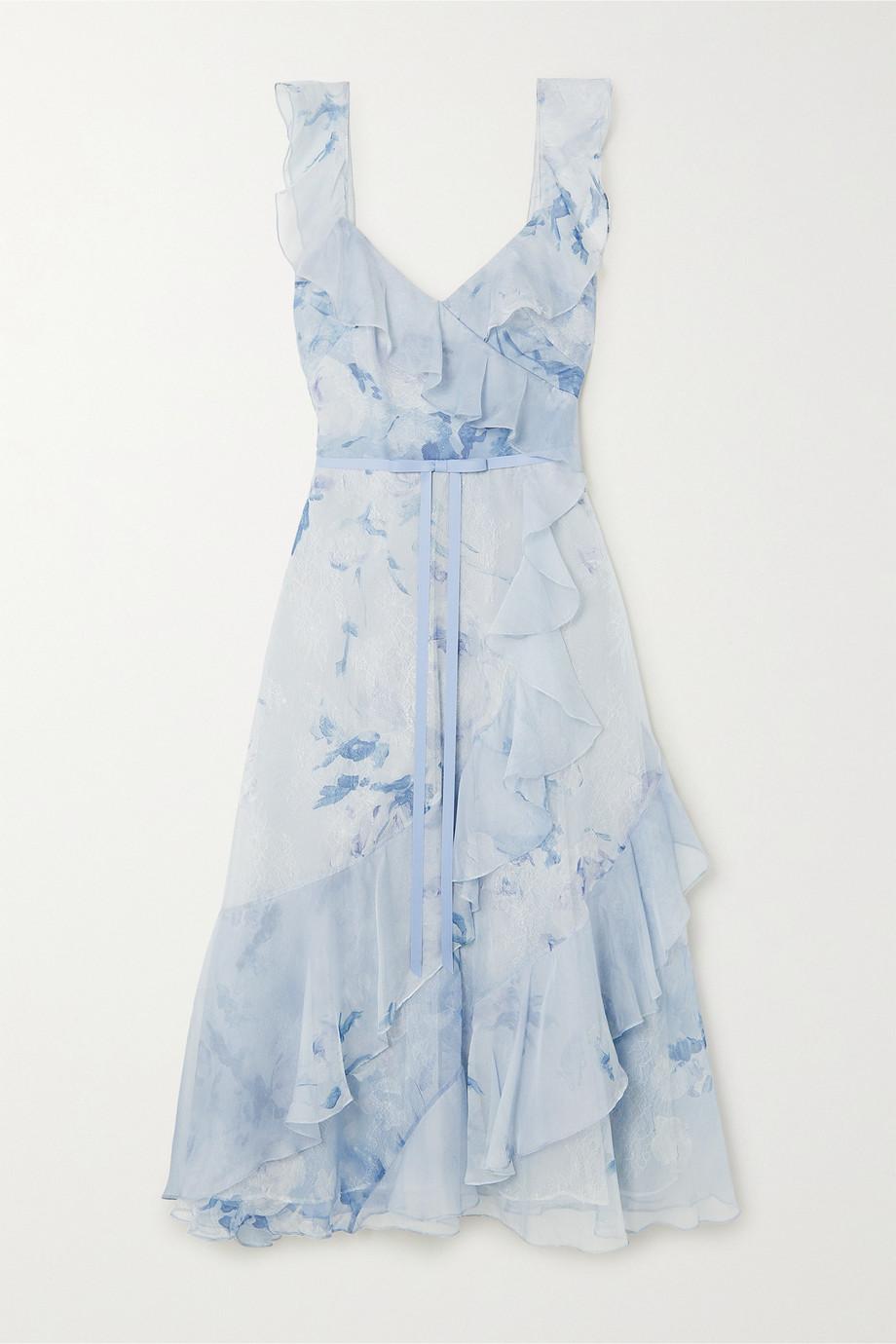 Marchesa Notte Floral-print chiffon and Chantilly lace midi dress