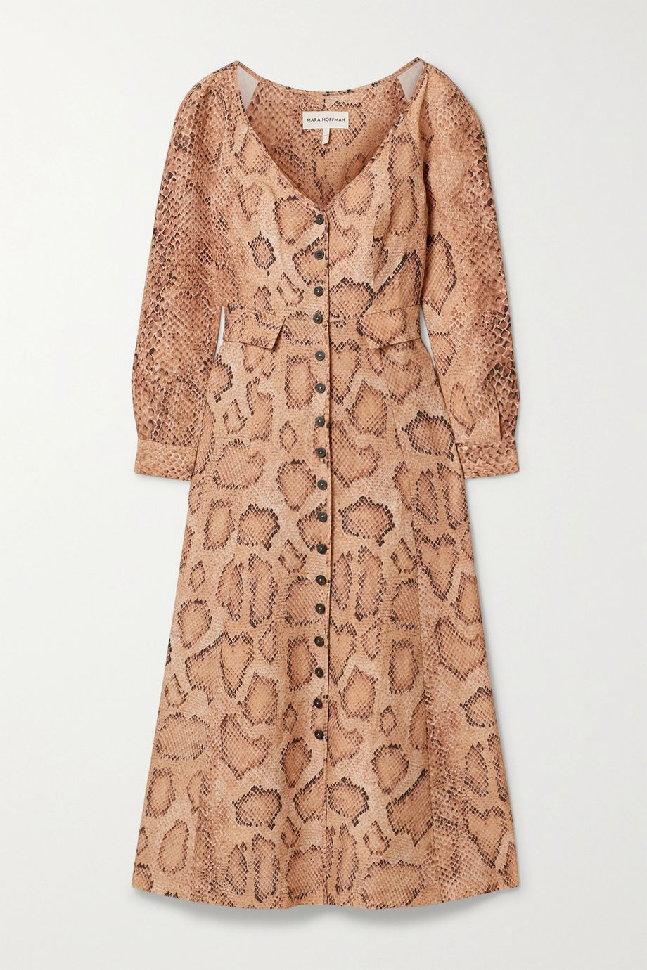 Mara Hoffman + NET SUSTAIN Silvana snake-print Tencel and linen-blend midi dress