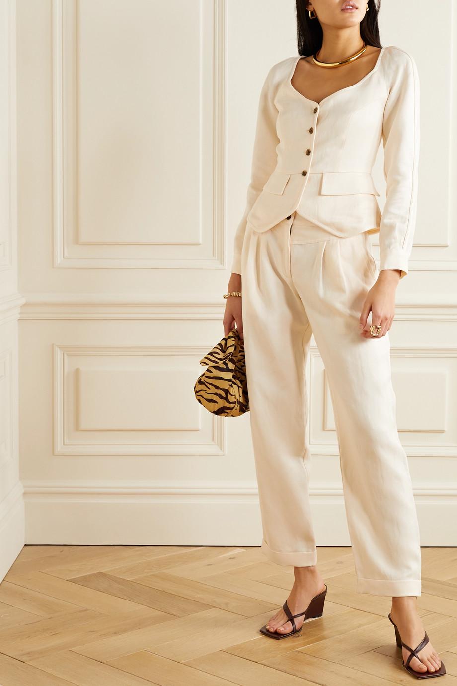 Mara Hoffman + NET SUSTAIN Liv Tencel and linen-blend twill tapered pants