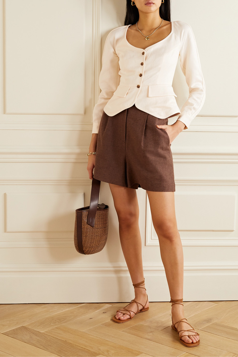 Mara Hoffman + NET SUSTAIN Ava Tencel Lyocell and linen-blend twill top