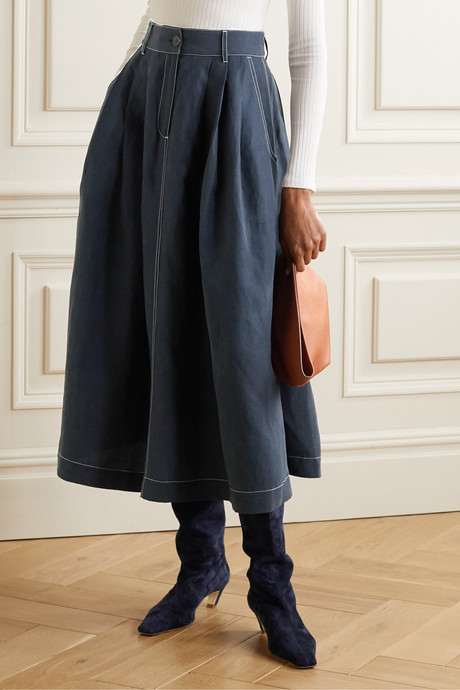 Tulay pleated Tencel Lyocell and linen-blend midi skirt