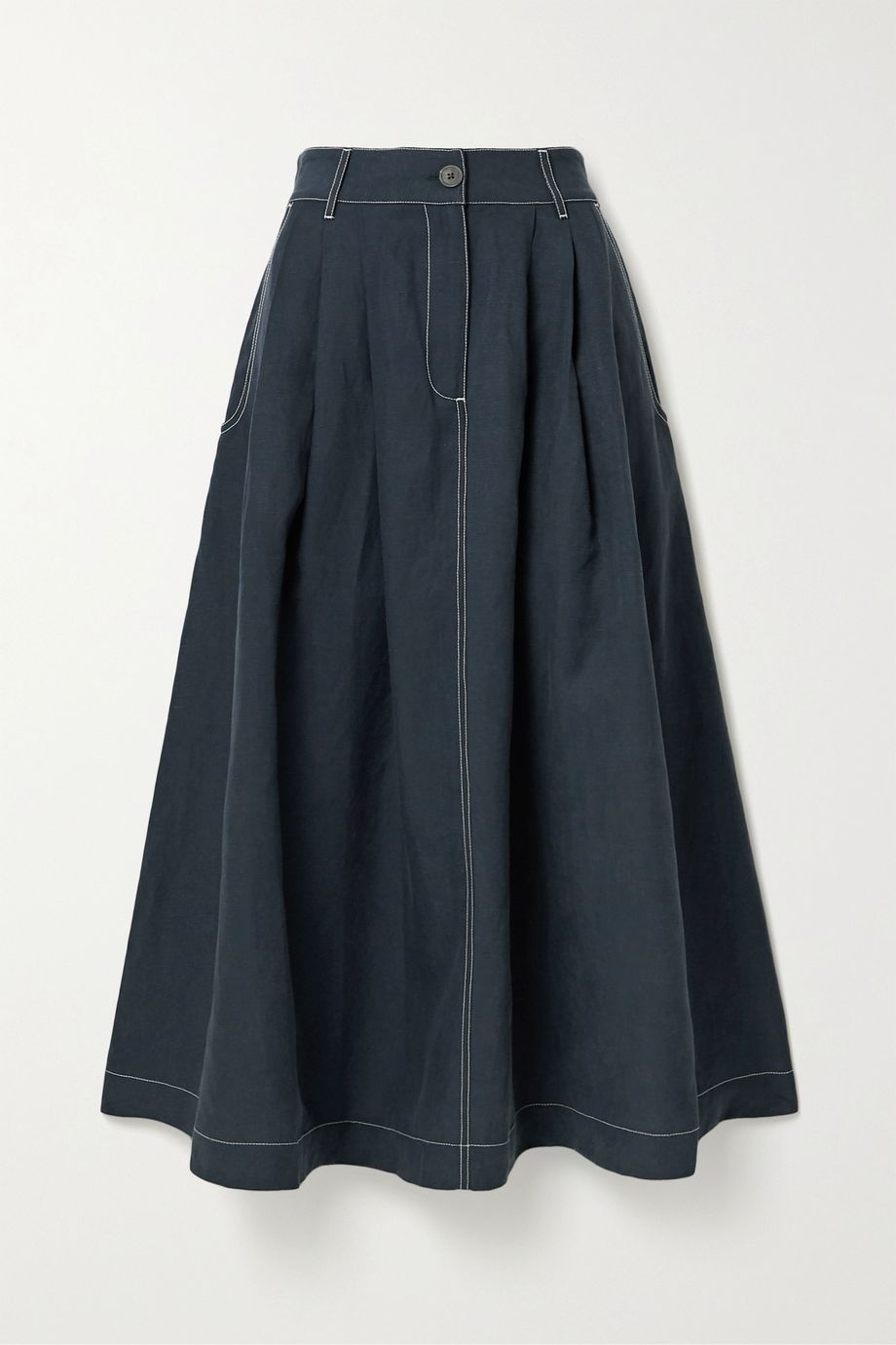 Mara Hoffman + NET SUSTAIN Tulay pleated Tencel Lyocell and linen-blend midi skirt