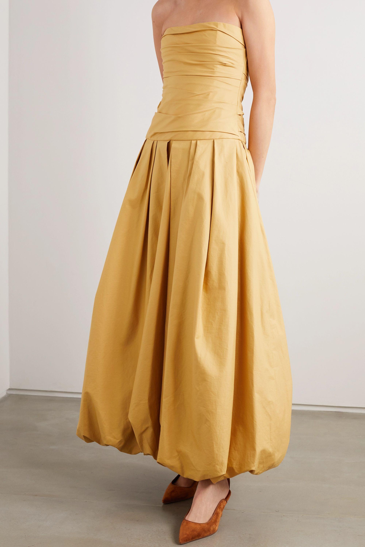 Khaite Ingrid strapless gathered cotton-twill gown