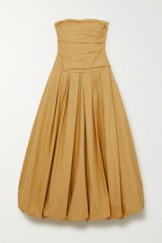 Ingrid strapless gathered cotton-twill gown