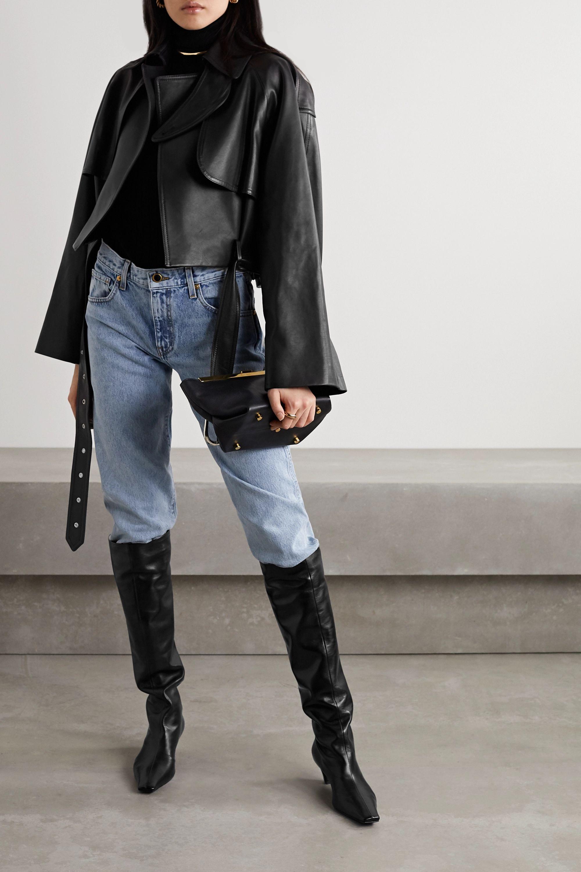 Khaite Krista oversized belted leather jacket