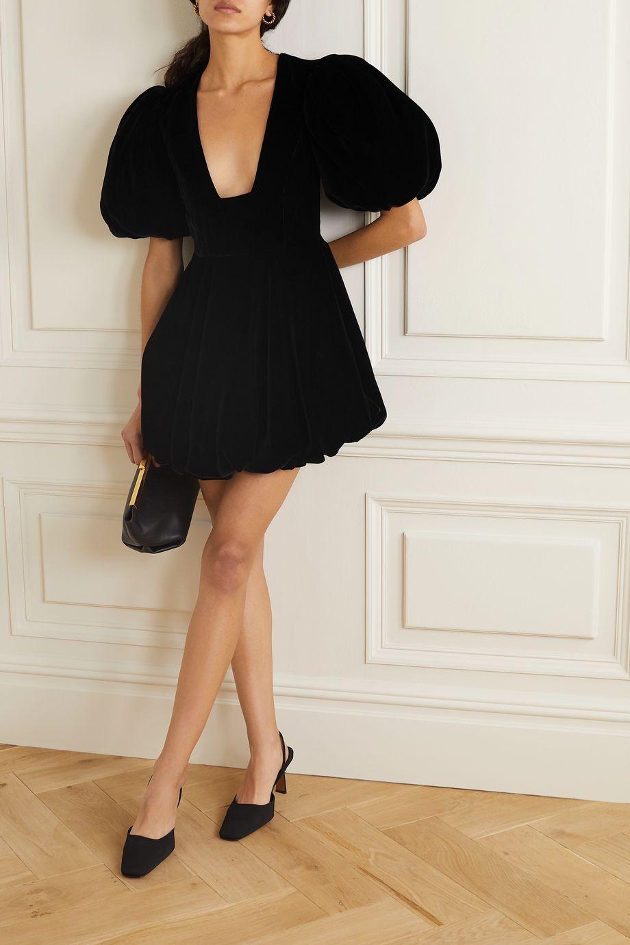Khaite Leona velvet mini dress