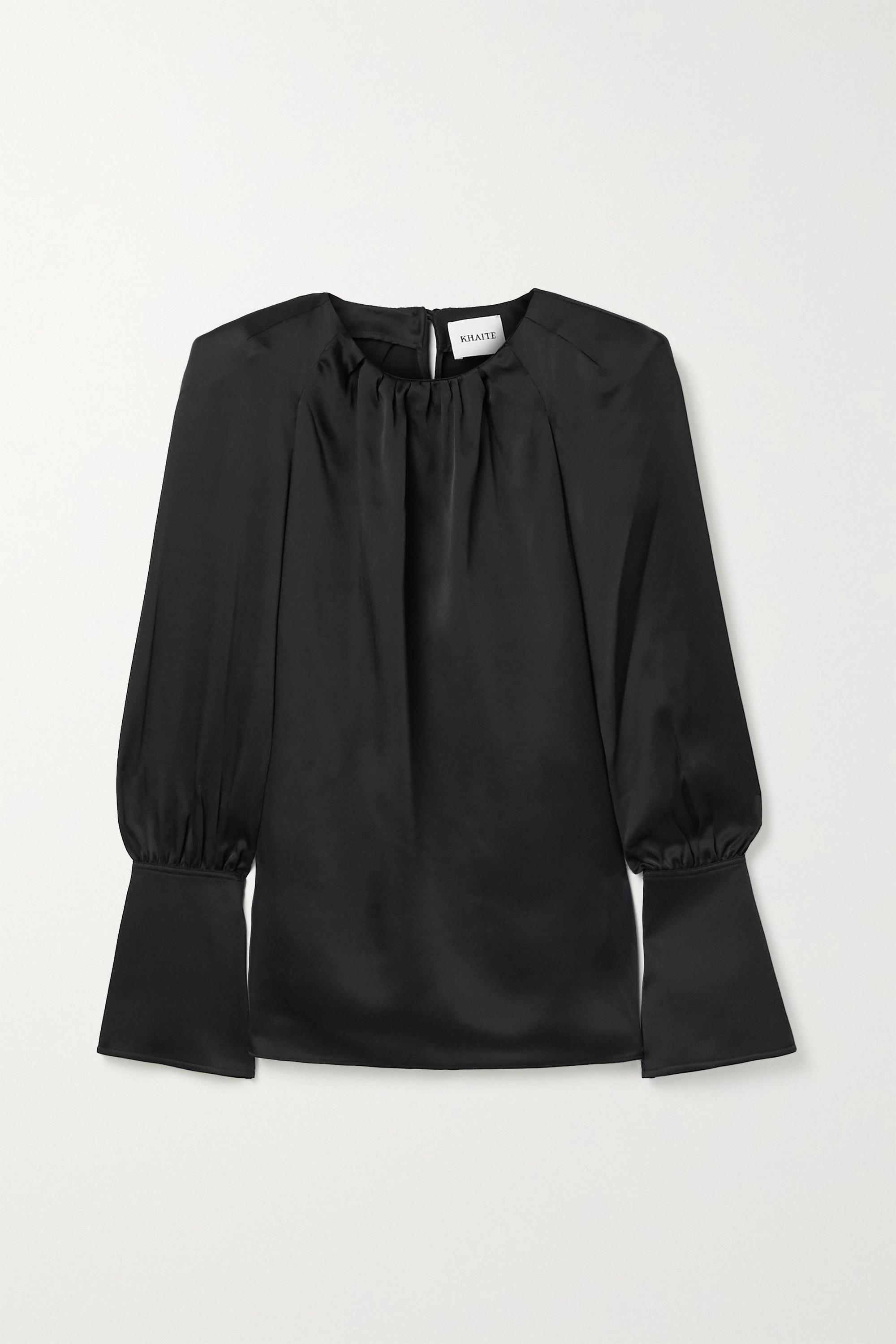 Khaite Kirsty cutout satin-crepe blouse