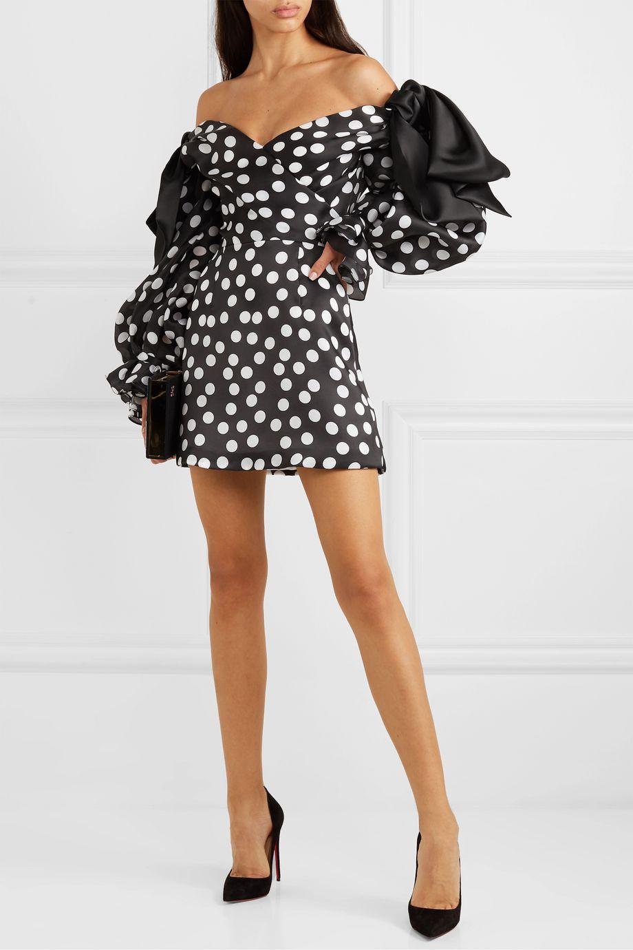 Carolina Herrera Off-the-shoulder bow-embellished polka-dot duchesse silk-satin mini dress