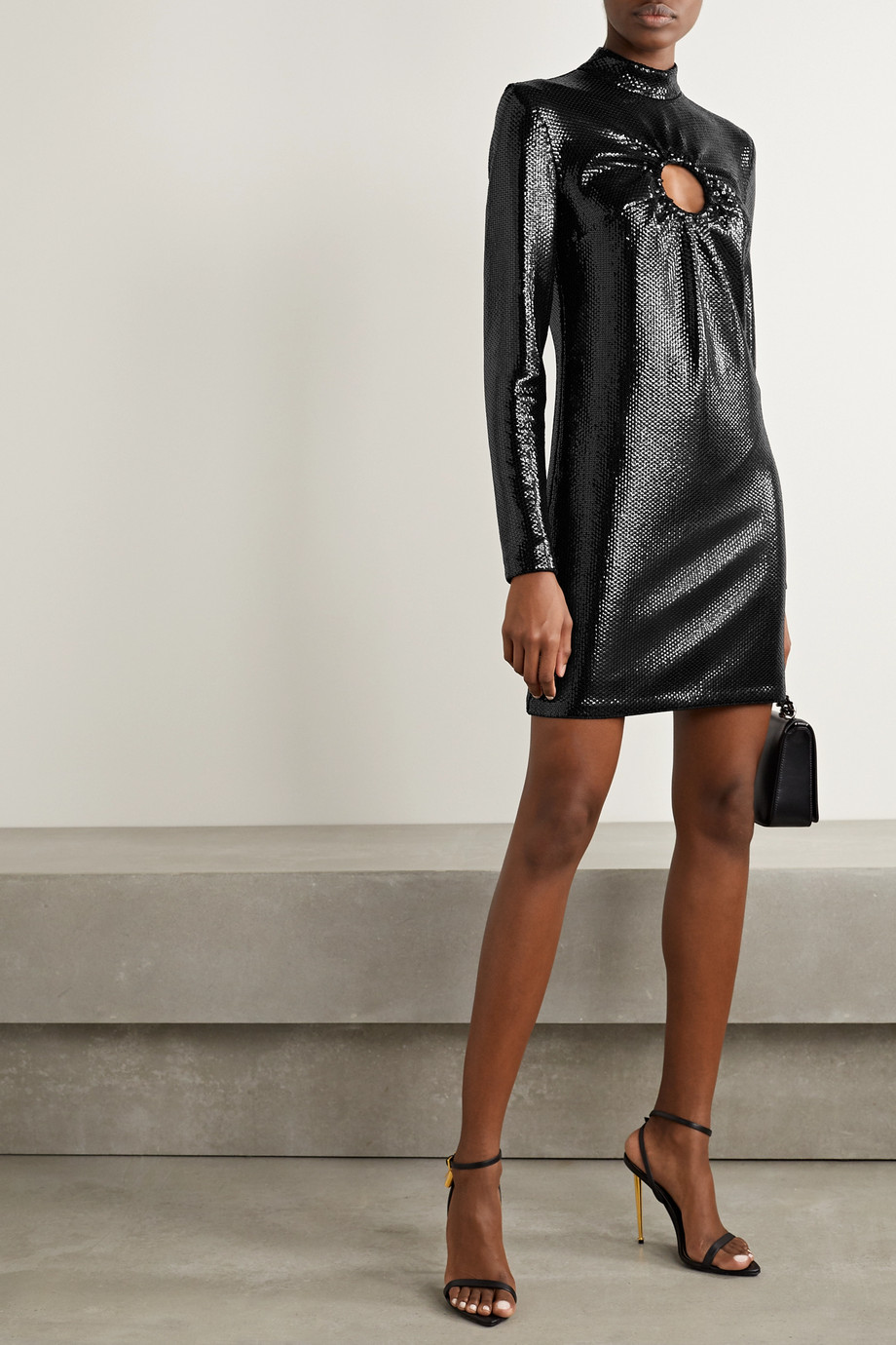 TOM FORD Cutout sequined jersey mini dress