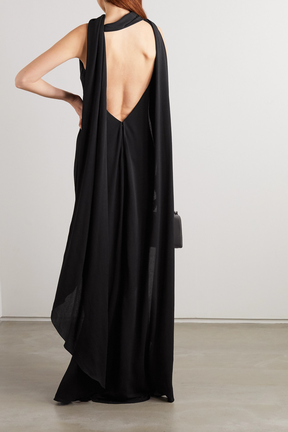TOM FORD Open-back cape-effect jersey gown