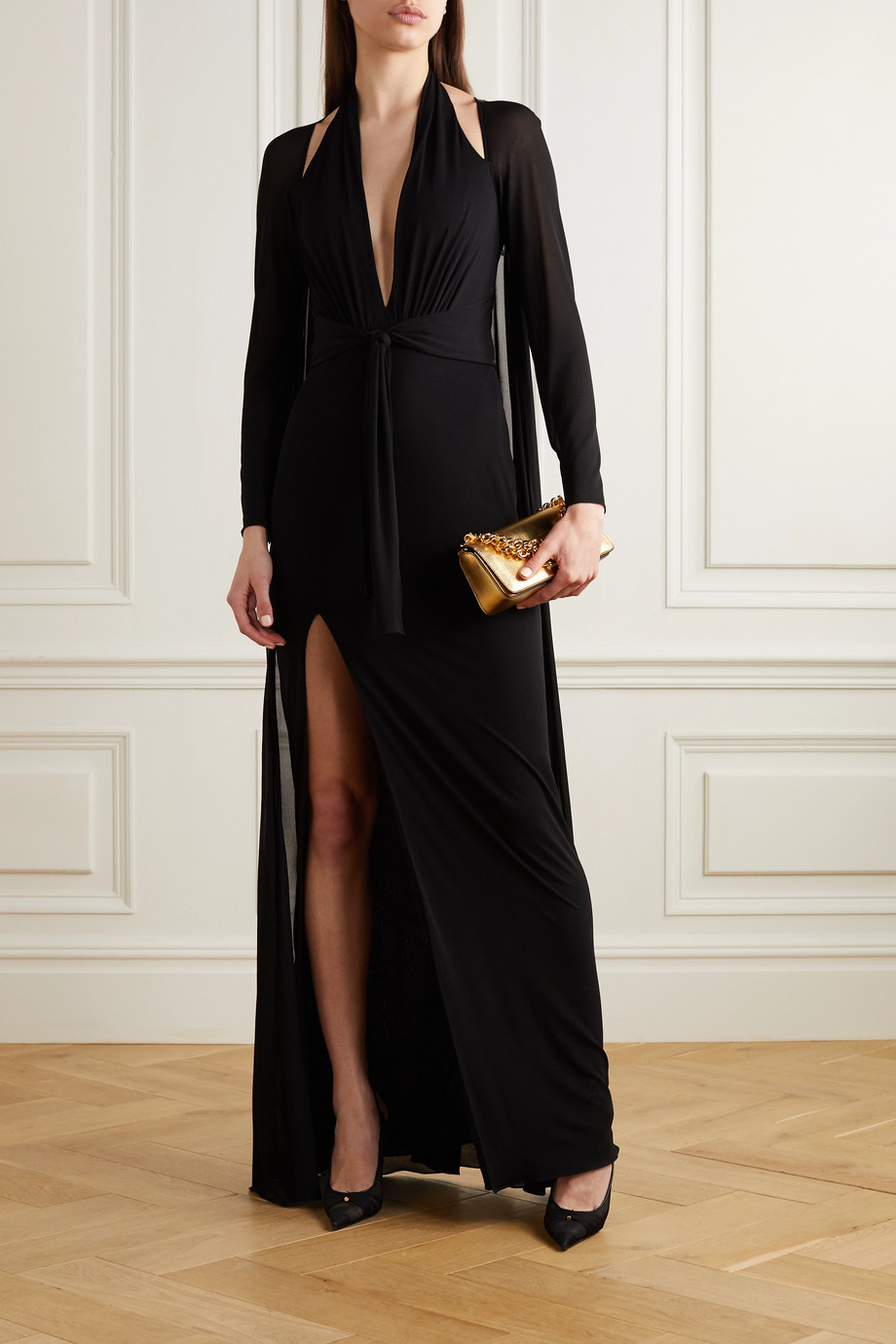 TOM FORD Cape-effect jersey halterneck gown