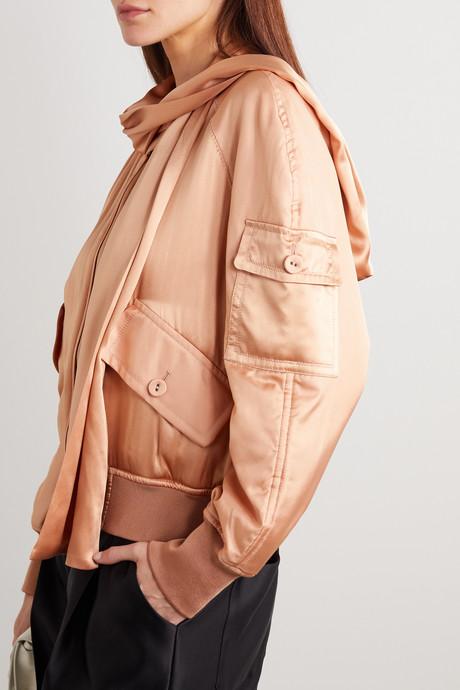 Draped silk-satin bomber jacket