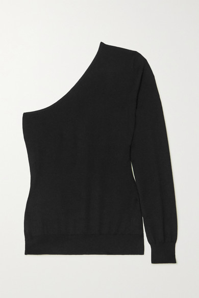 Tom Ford One-sleeve Cashmere And Silk-blend Sweater In Black
