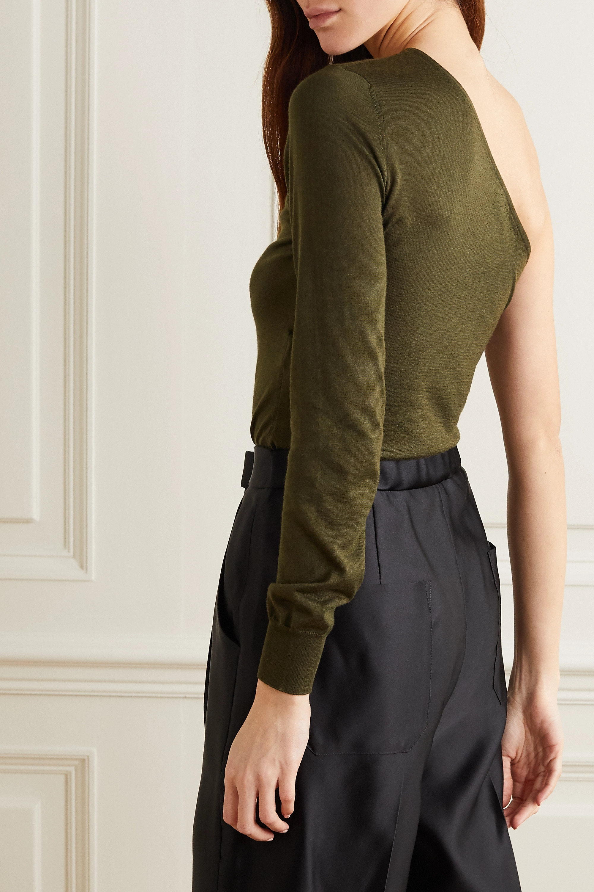 TOM FORD One-sleeve cashmere and silk-blend sweater
