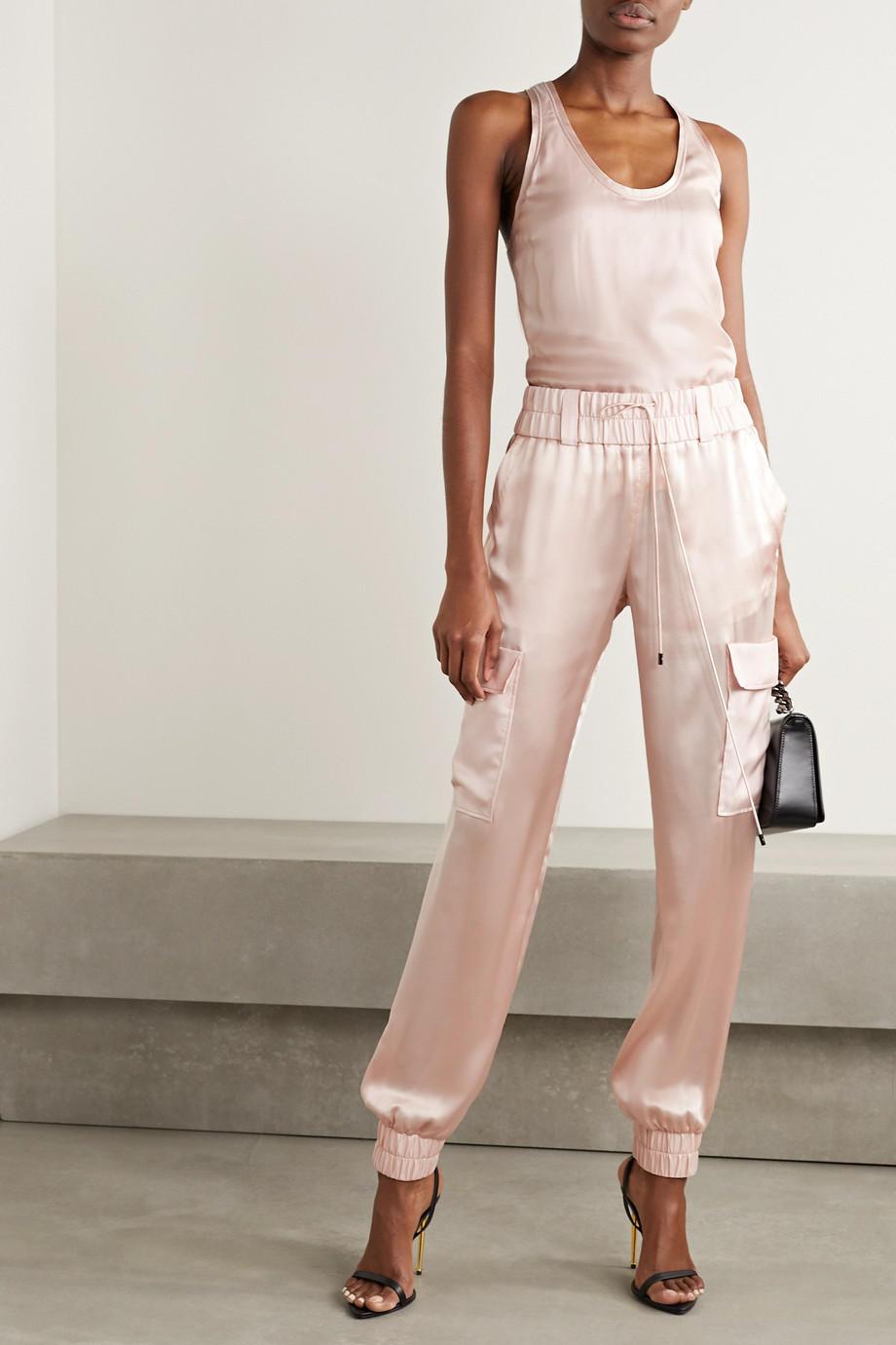TOM FORD Silk-paneled cashmere and silk-blend tank