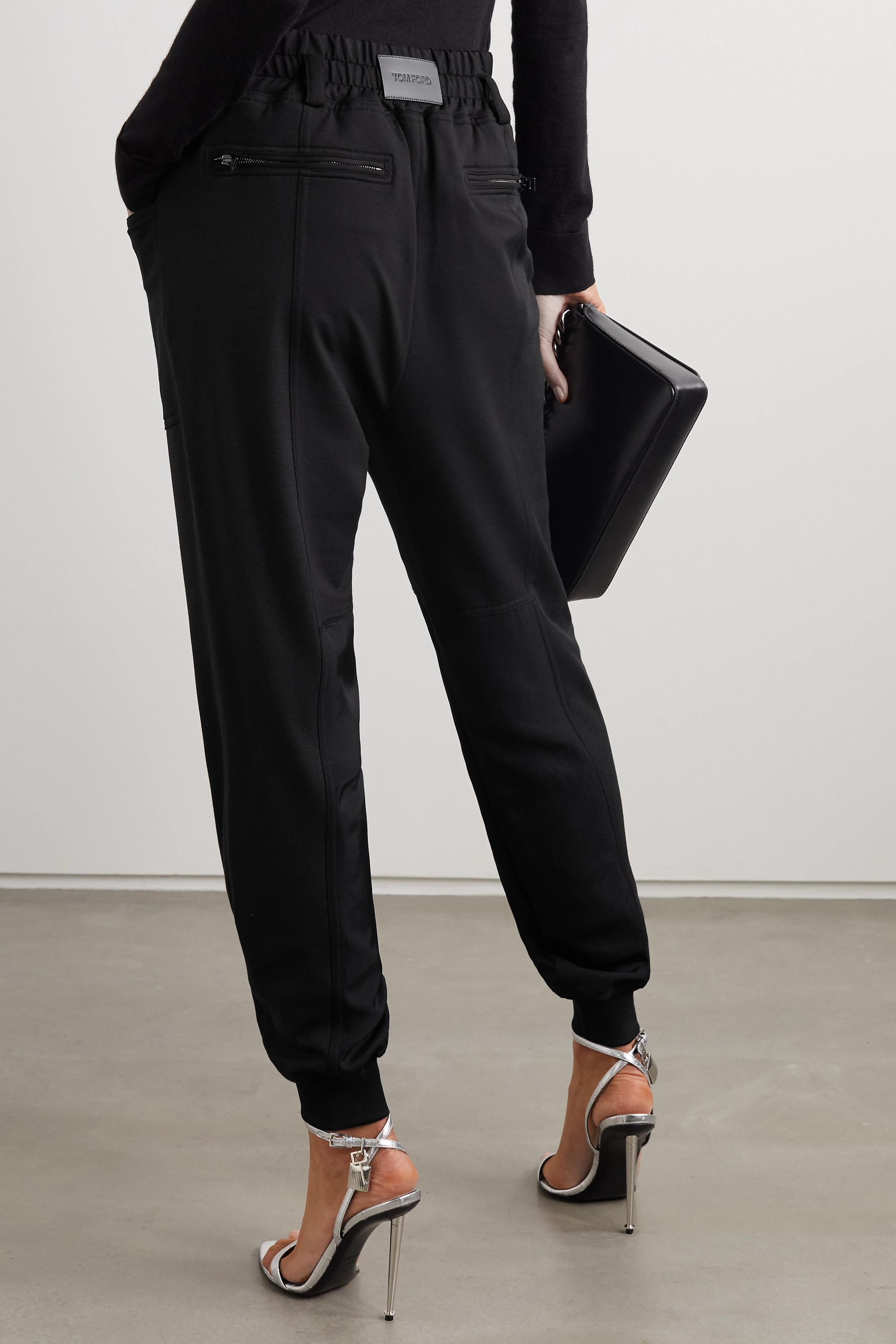 TOM FORD Paneled jersey, satin and piqué track pants