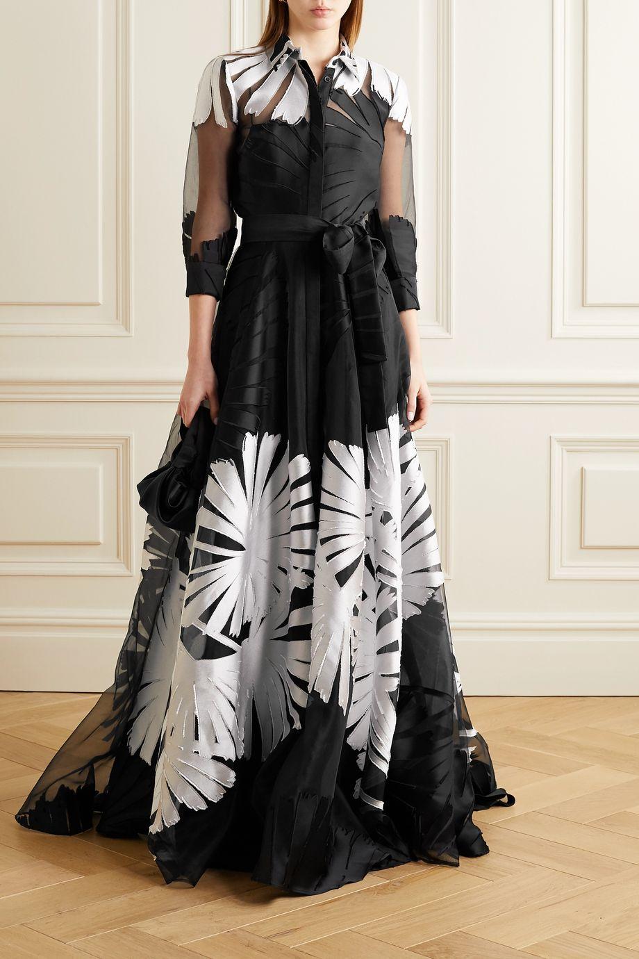 Carolina Herrera Belted fil coupé organza gown